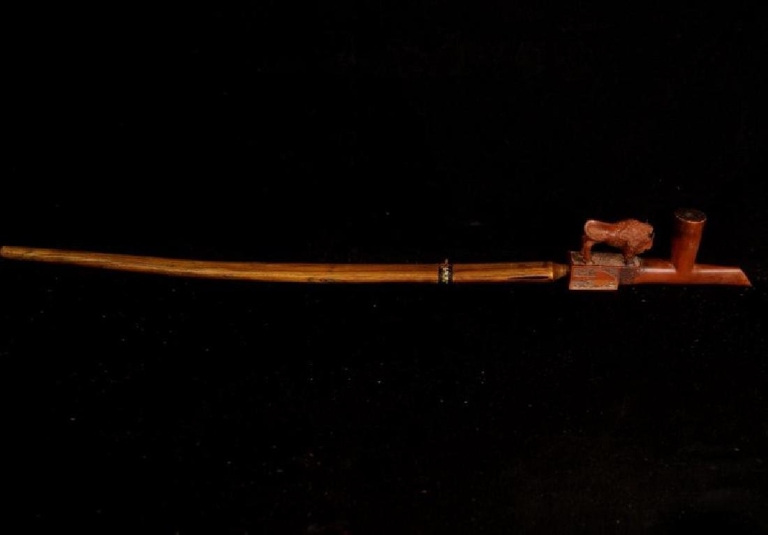 Native American Catlin Pipe w carved buffalo - 2