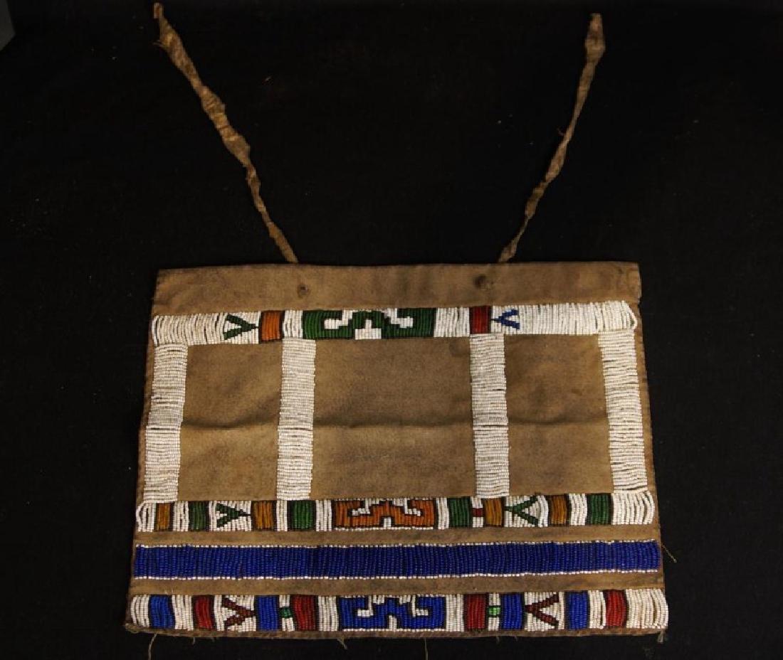 Beaded Native American tobacco bag - 2