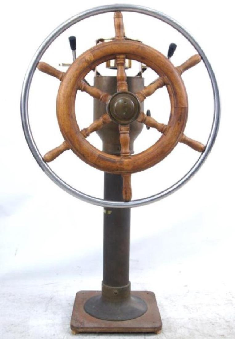 Antique Brass Ship Binnacle and steering wheel