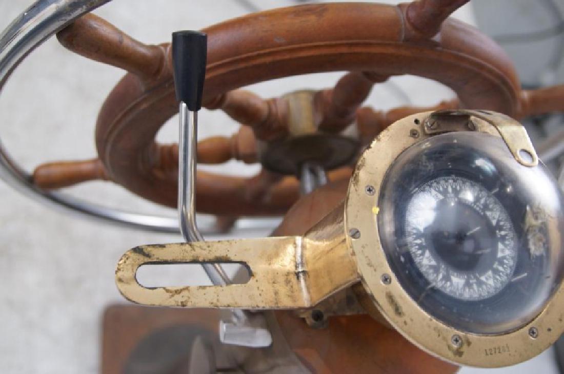 Antique Brass Ship Binnacle and steering wheel - 2