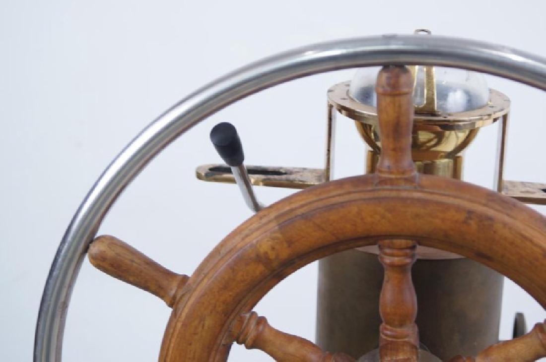 Antique Brass Ship Binnacle and steering wheel - 5