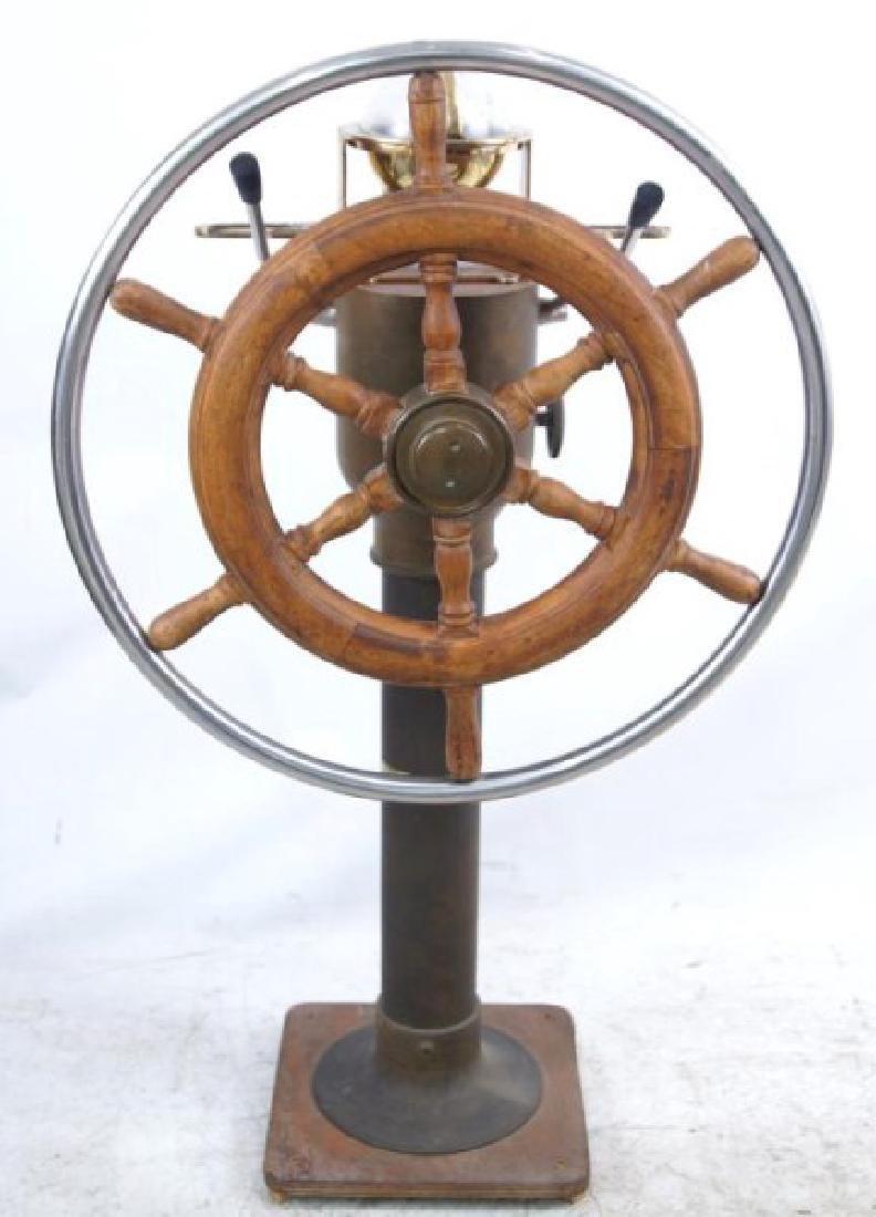 Antique Brass Ship Binnacle and steering wheel - 6