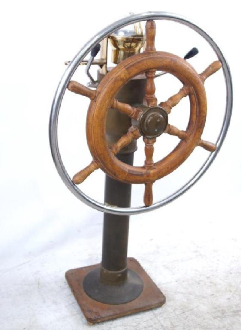 Antique Brass Ship Binnacle and steering wheel - 7
