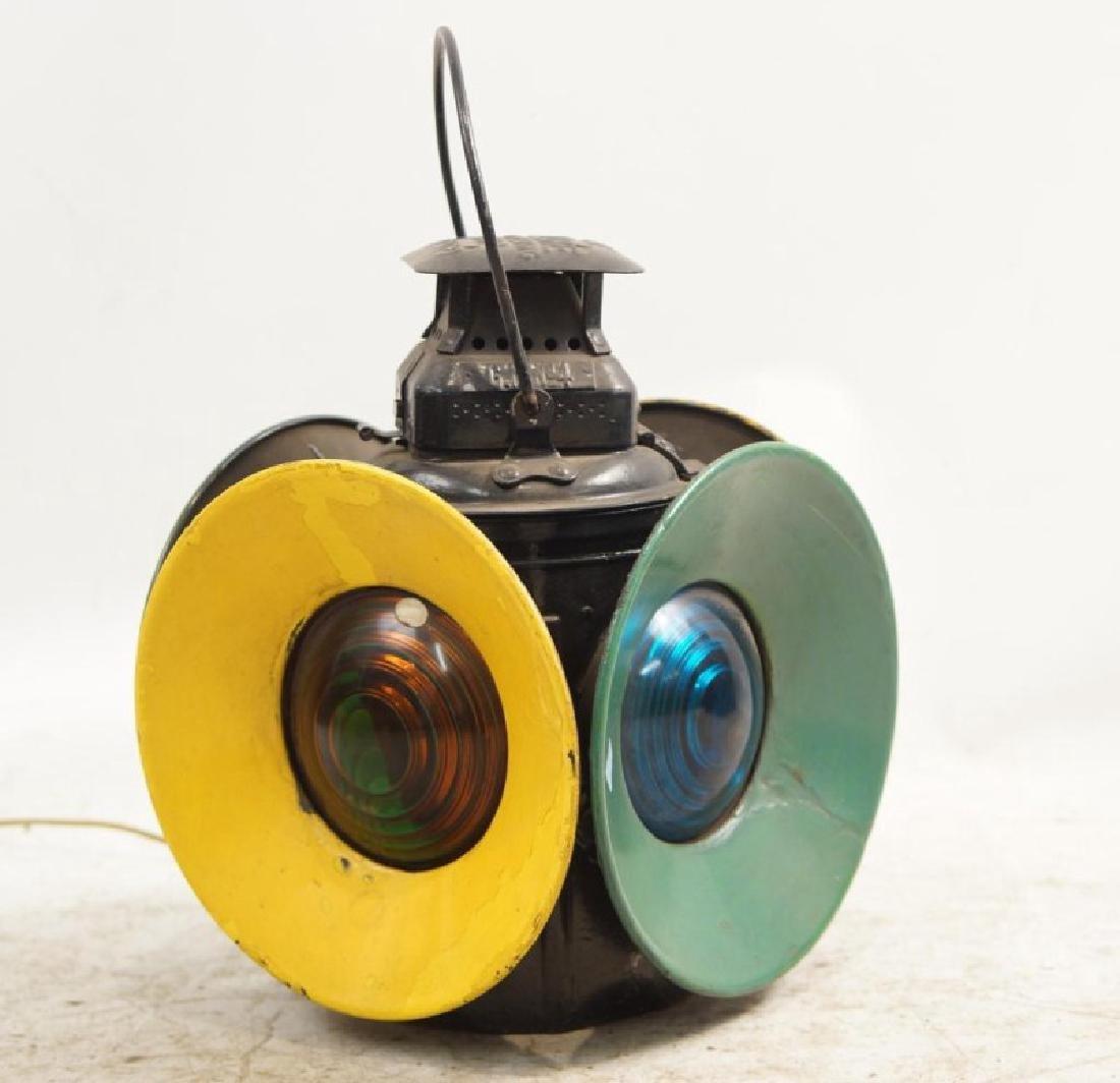Antique railroad signal lantern - 4 light