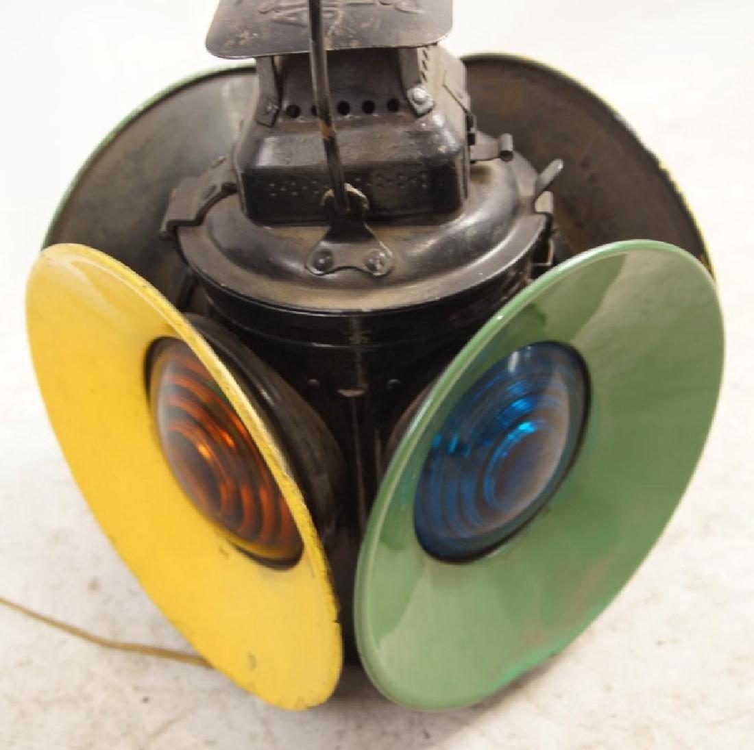 Antique railroad signal lantern - 4 light - 4
