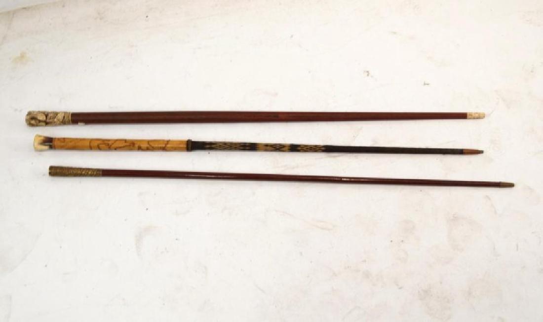 Three Vintage Wood & Horsehair Canes