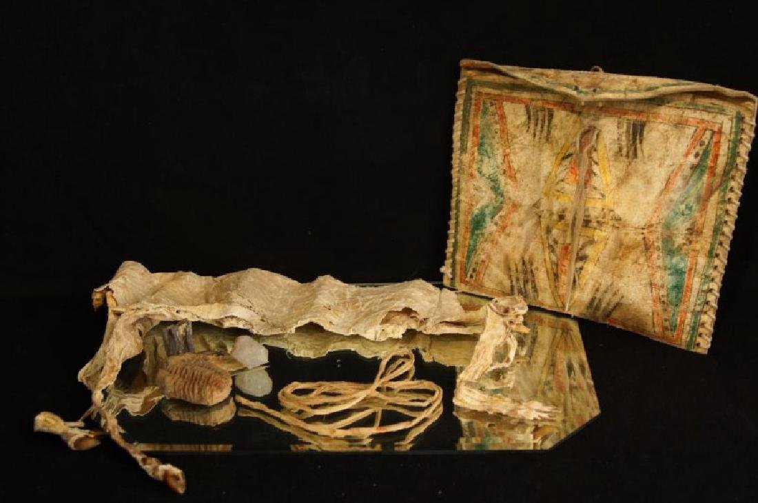 Native American Parflech bag w contents - 4