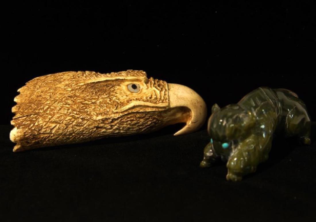 A Jade Carved Buffalo and Carved Eagle Effigies