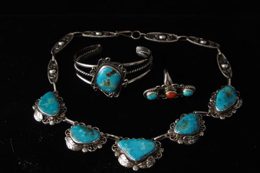 Taxco Sterling & Turquoise necklace & bracelet