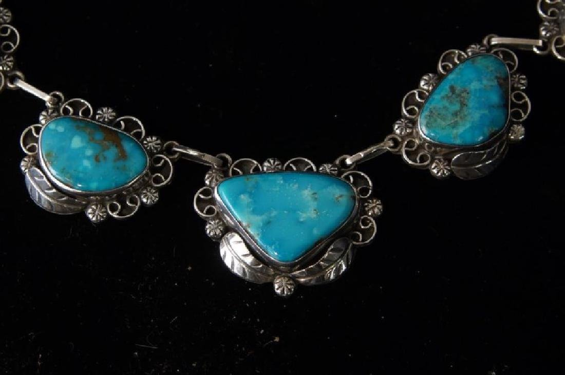 Taxco Sterling & Turquoise necklace & bracelet - 2