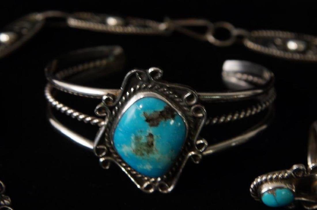 Taxco Sterling & Turquoise necklace & bracelet - 3
