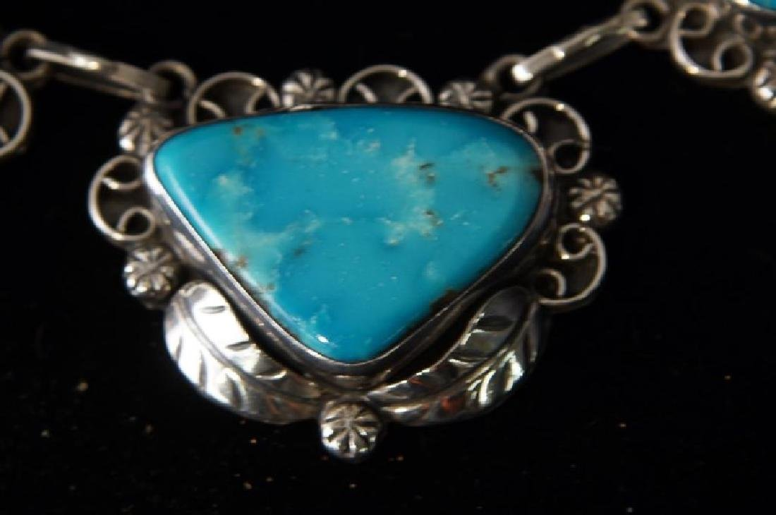 Taxco Sterling & Turquoise necklace & bracelet - 6
