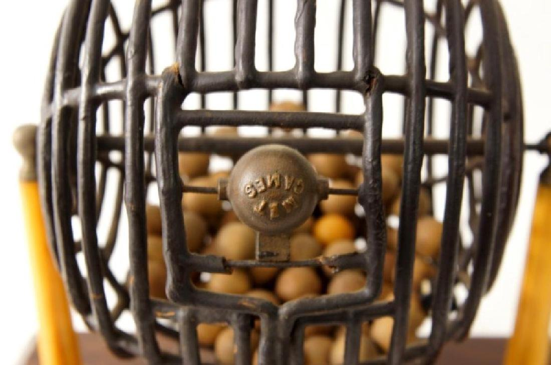 Antique lottery wheel with orig. wood carved balls - 3