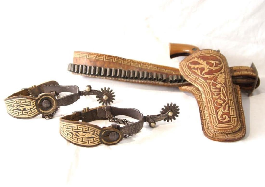 Western Gun Belt, Spurs and Replica Colt Lightning