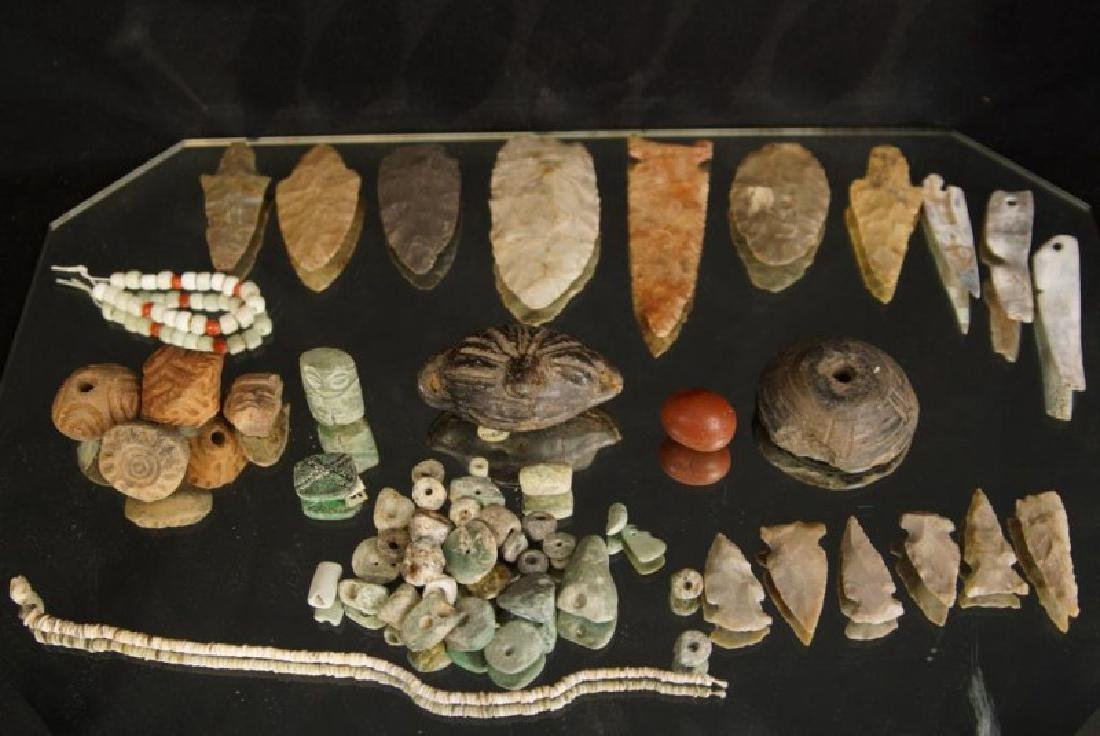 Pre Colombian Arrowheads, beads, buttons, tools