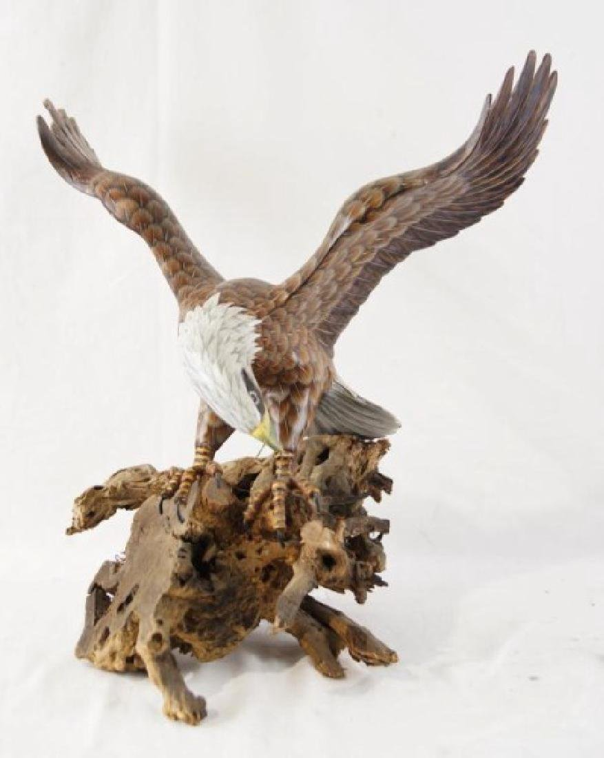 Wood carved hand painted eagle on driftwood