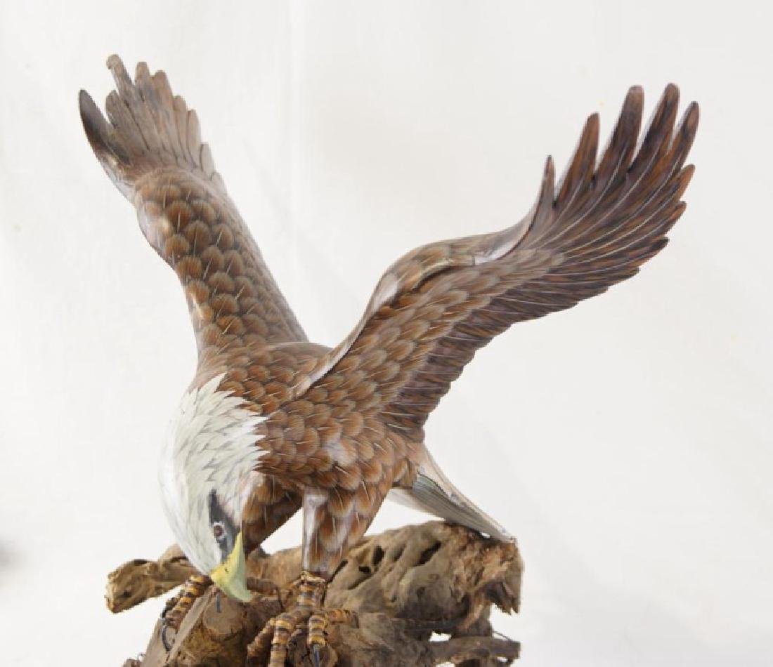 Wood carved hand painted eagle on driftwood - 3