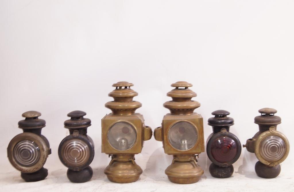 6 Antique Kerosene Automobile Lamps - Ford & E&J