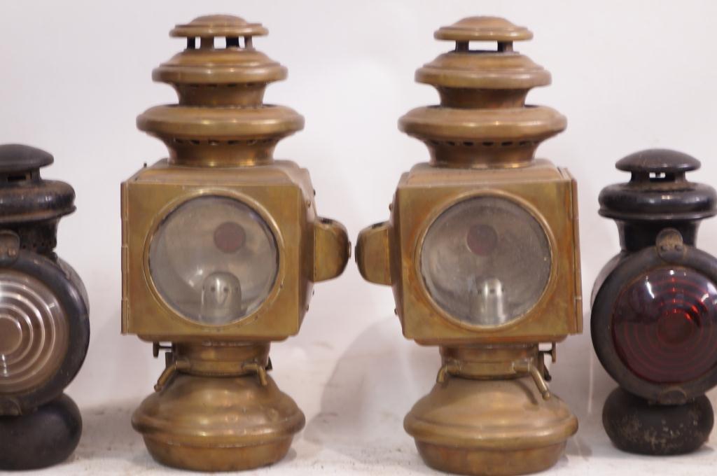 6 Antique Kerosene Automobile Lamps - Ford & E&J - 2