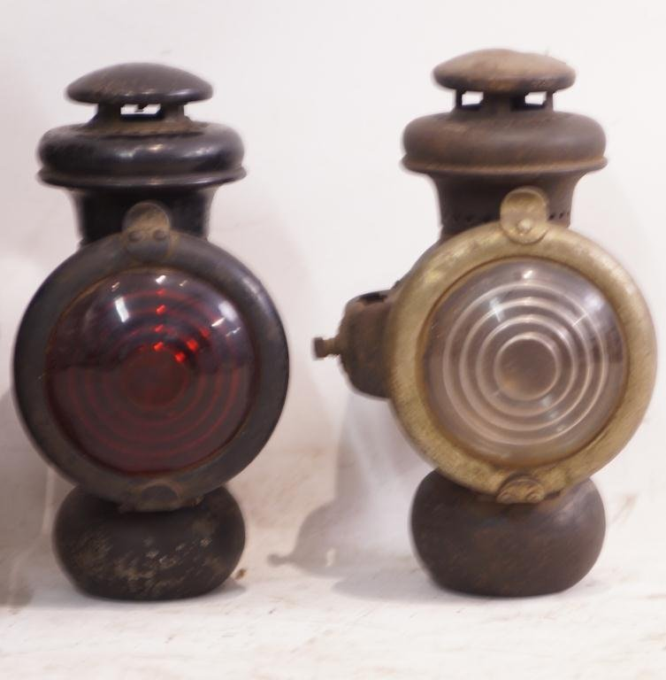 6 Antique Kerosene Automobile Lamps - Ford & E&J - 3