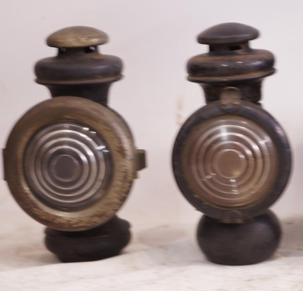 6 Antique Kerosene Automobile Lamps - Ford & E&J - 4