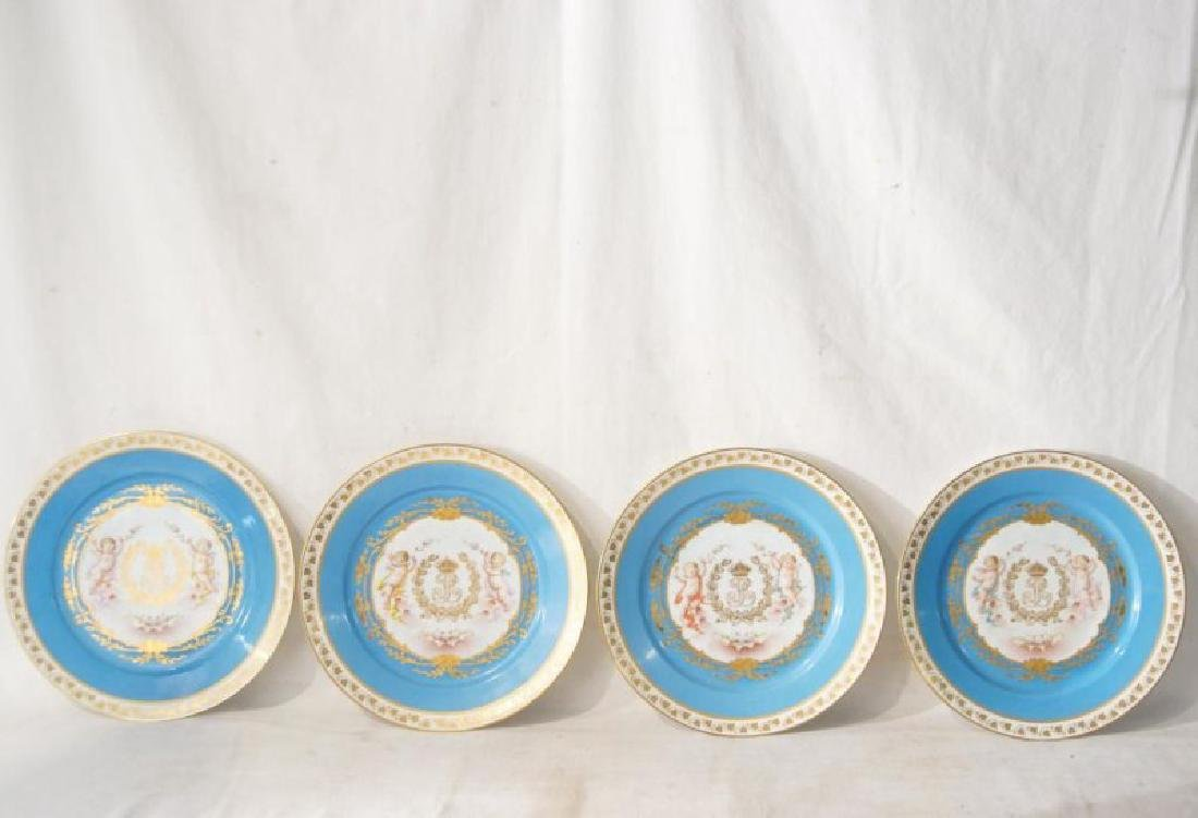 4 French Sevres Hand painted plates w Cherubs