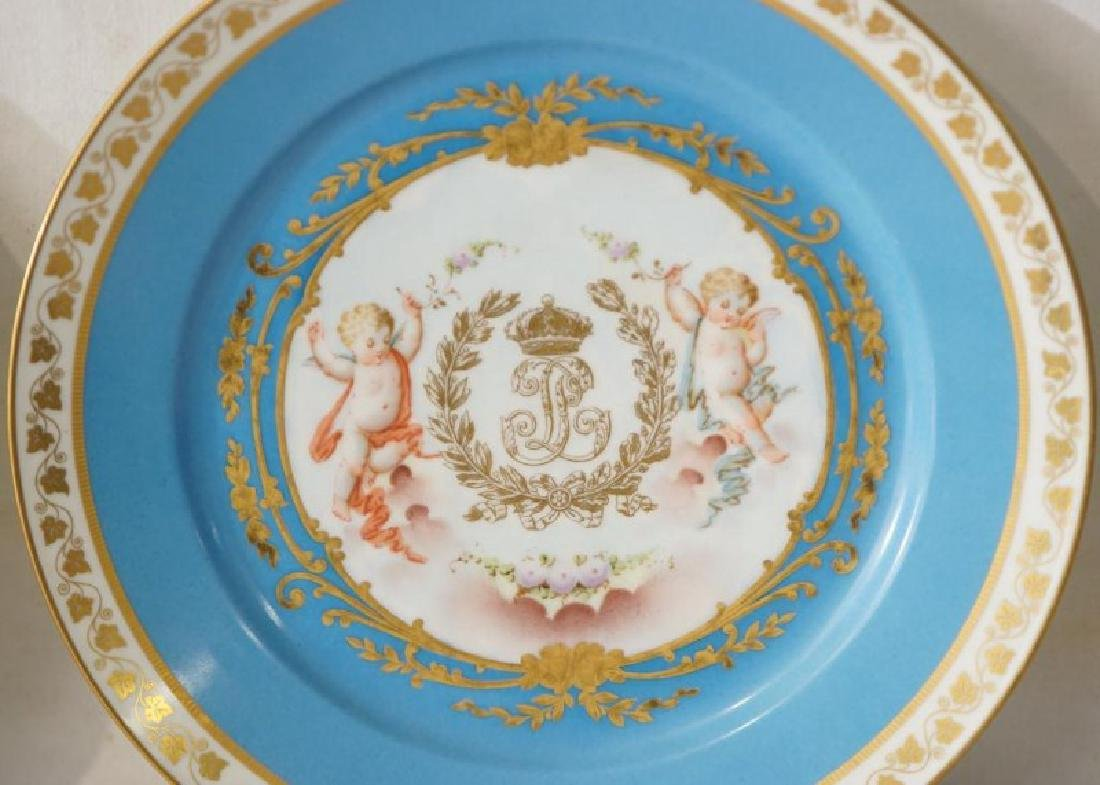 4 French Sevres Hand painted plates w Cherubs - 2