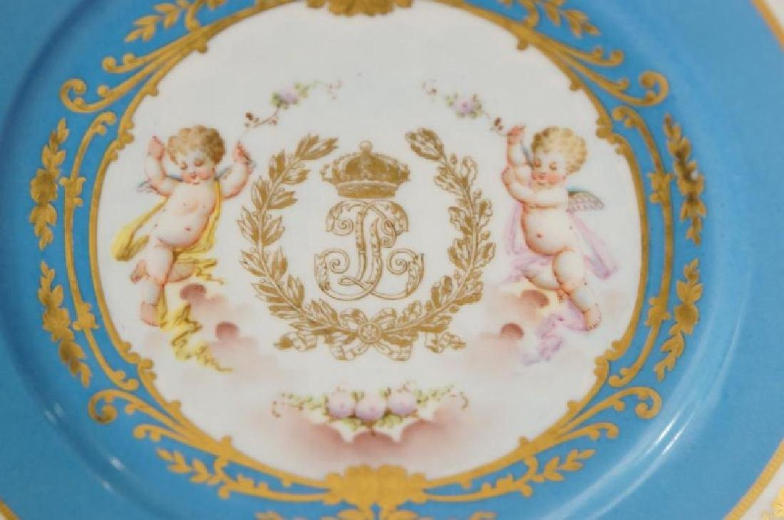 4 French Sevres Hand painted plates w Cherubs - 4