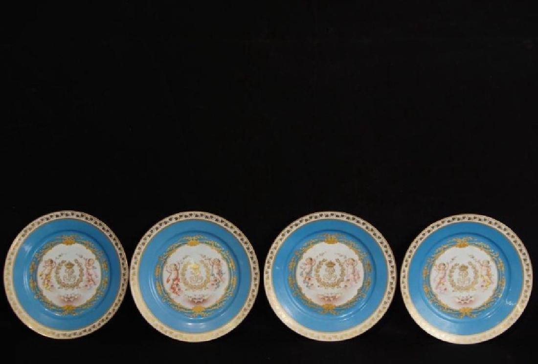 4 French Sevres Hand painted plates w Cherubs - 7