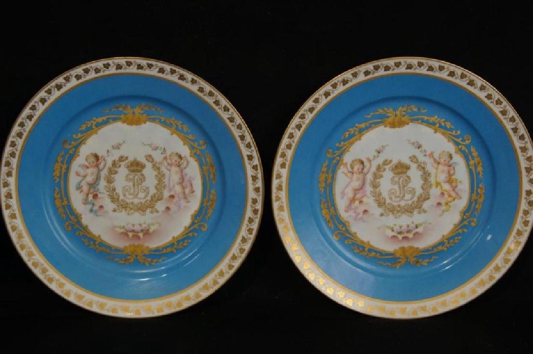 4 French Sevres Hand painted plates w Cherubs - 8