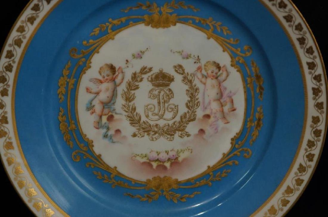 4 French Sevres Hand painted plates w Cherubs - 9