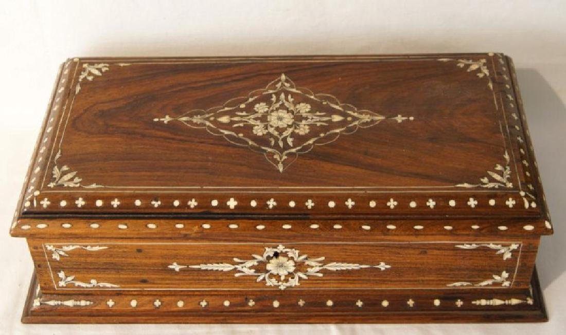 Antique Rosewood Inlaid Jewelry box