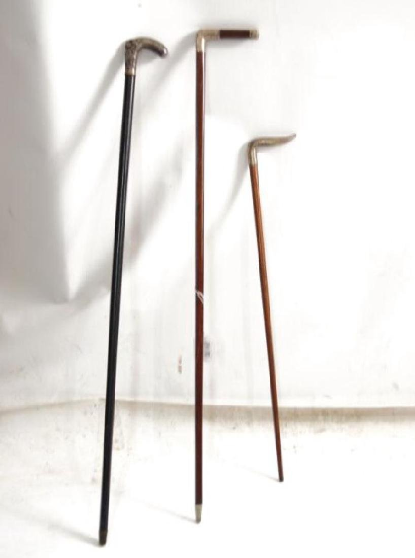 3 English canes with sterling handles