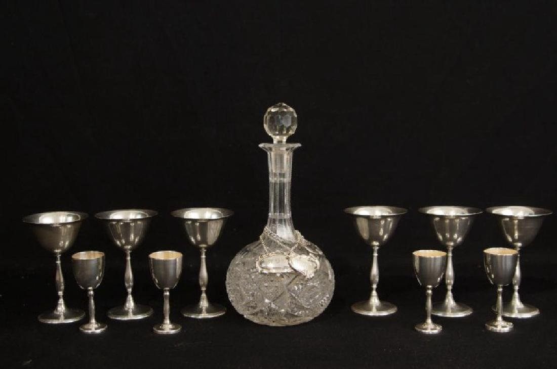 11 Piece Crystal and Sterling Decanter and Goblets