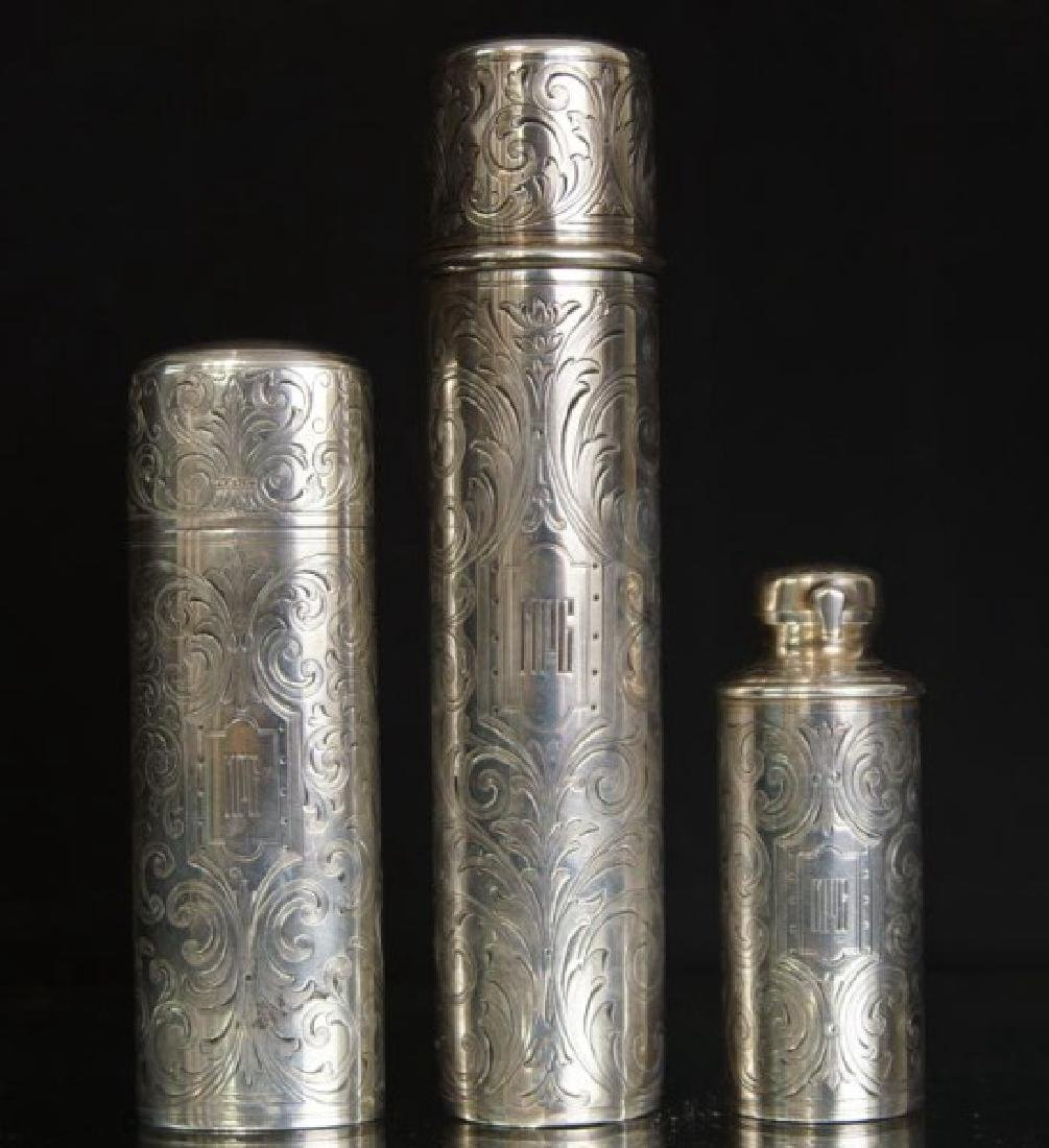 Three Antique Tiffany Sterling engraved canisters