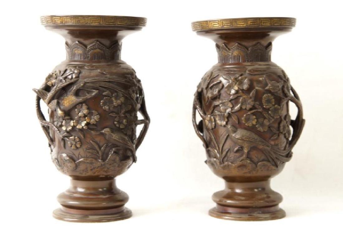 Pair Bronze Meiji Period Vases
