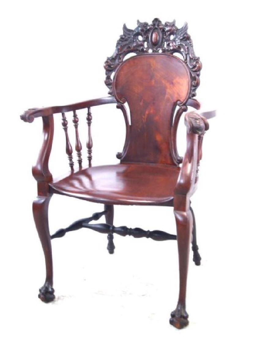 American Mahogany antique claw foot arm chair - 2
