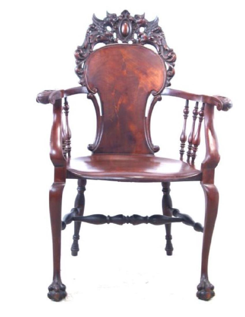 American Mahogany antique claw foot arm chair - 3