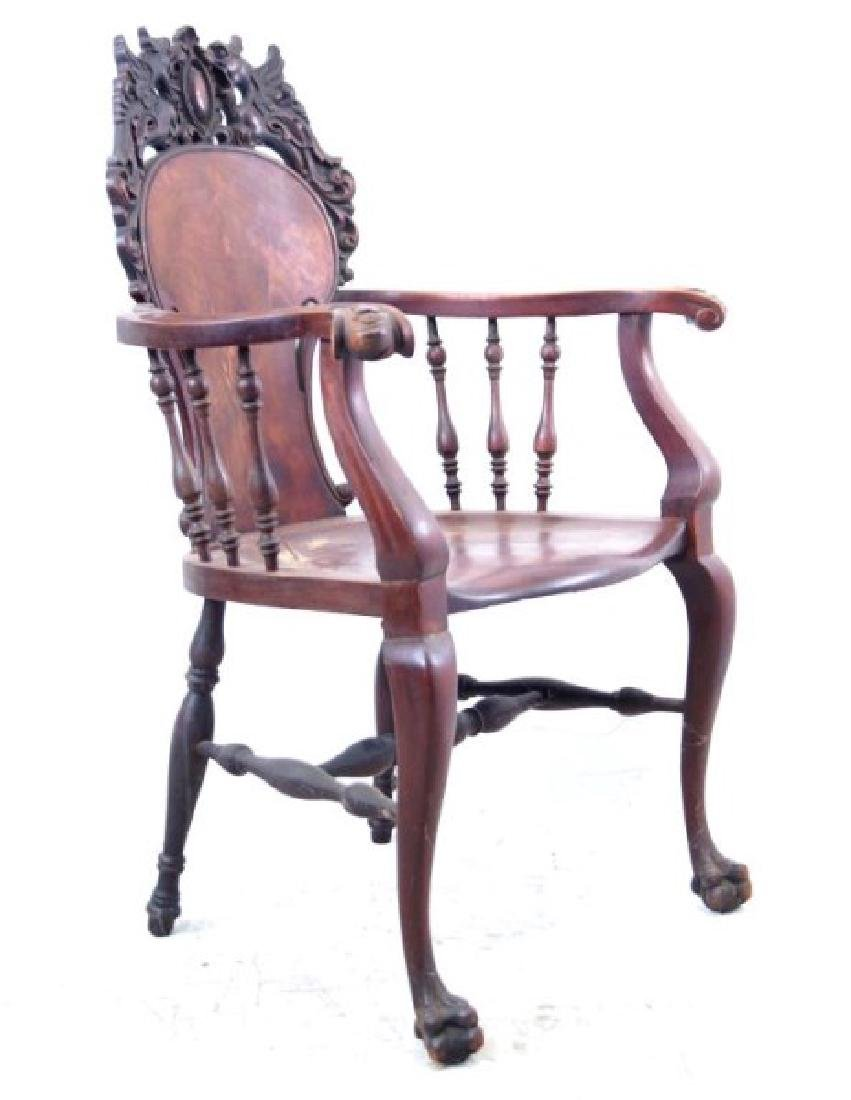 American Mahogany antique claw foot arm chair - 4