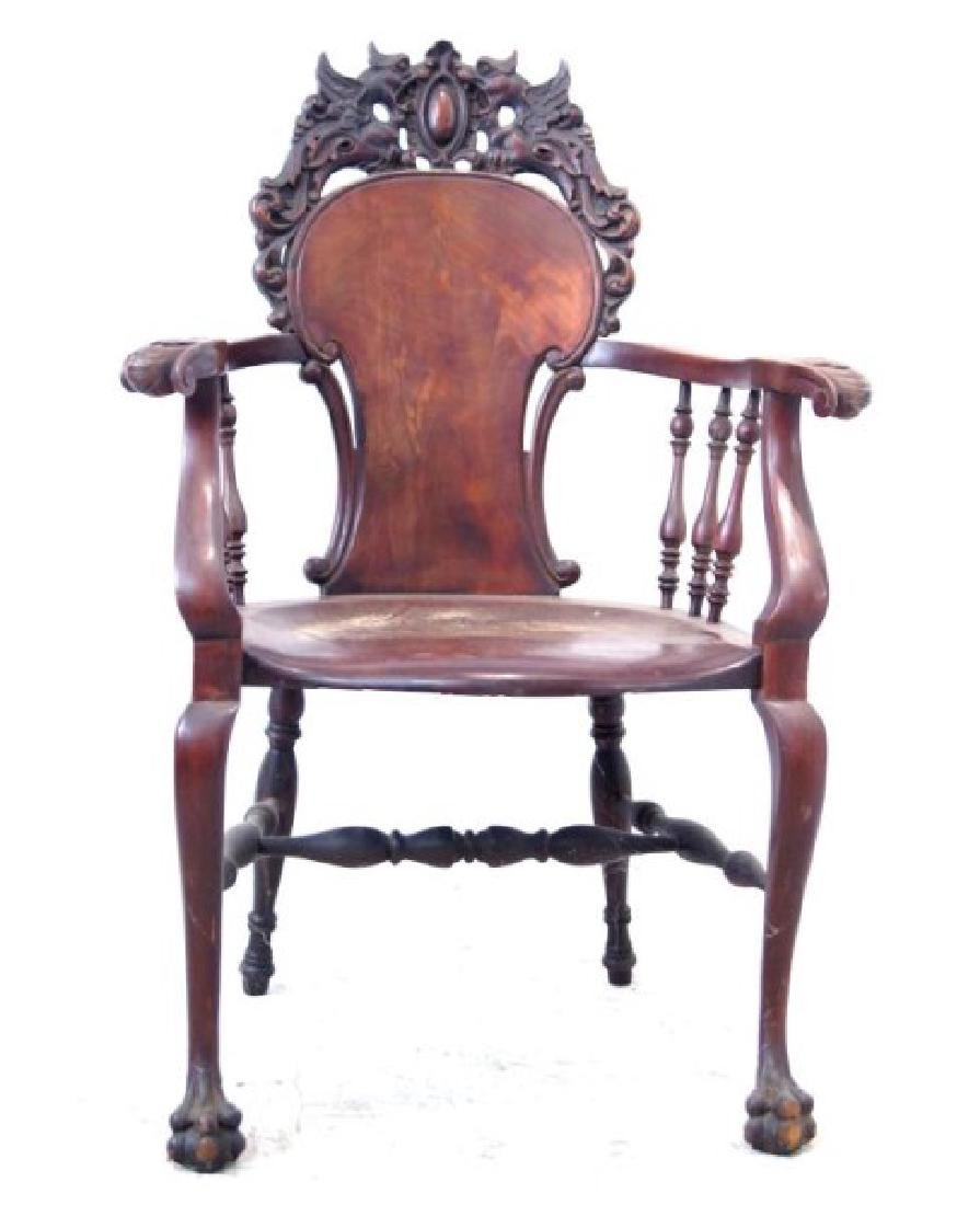American Mahogany antique claw foot arm chair - 5