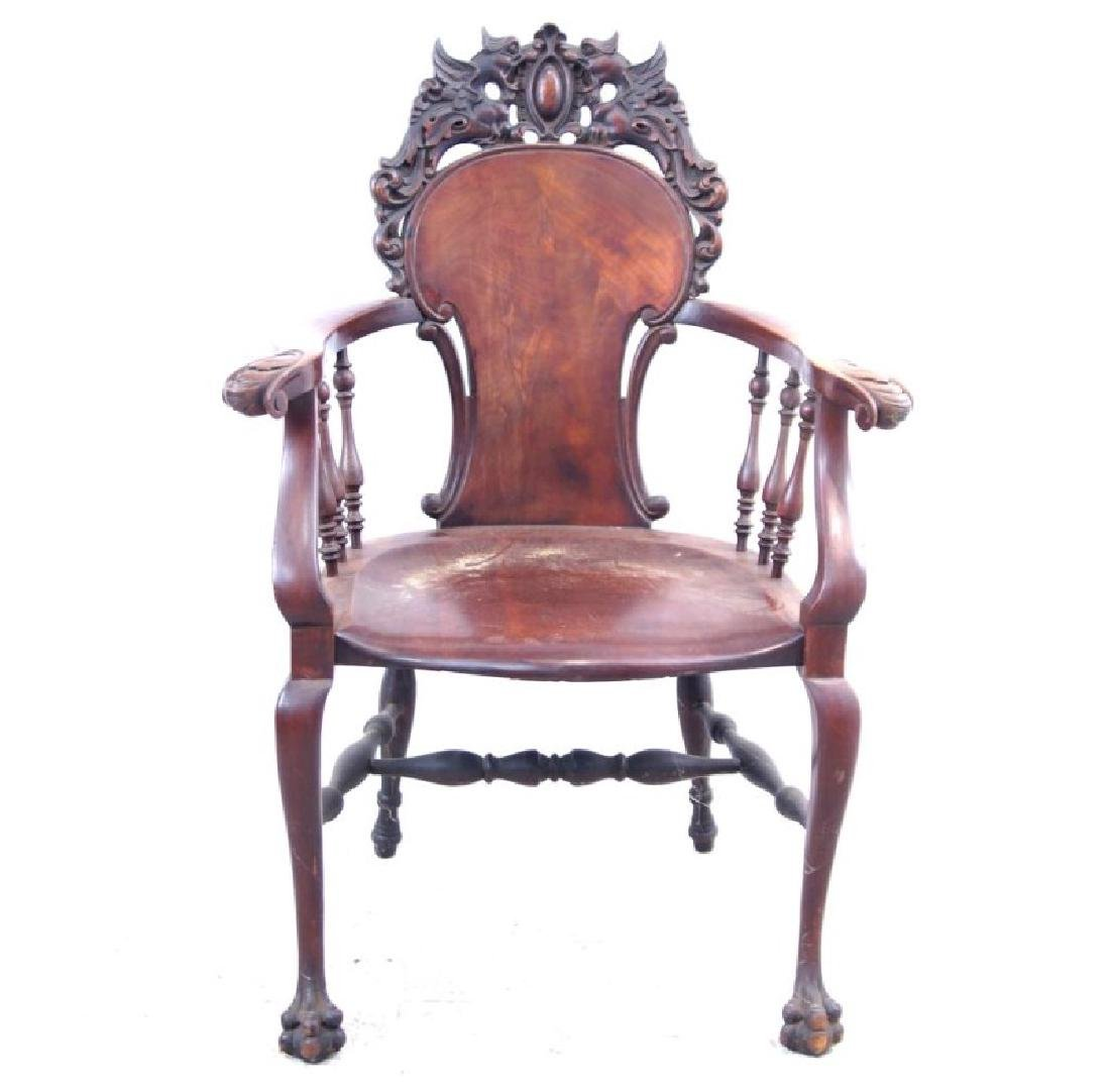 American Mahogany antique claw foot arm chair - 6