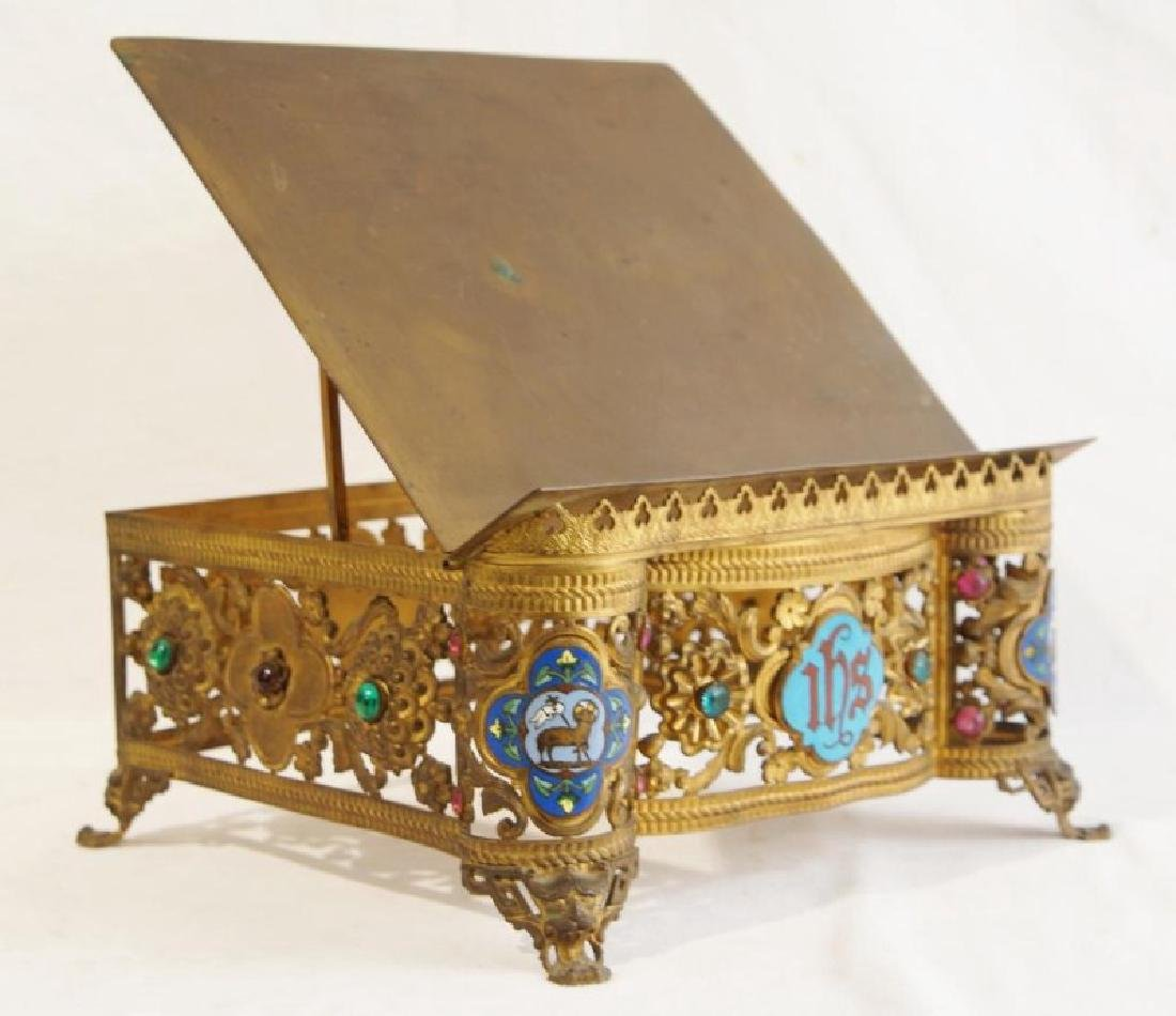 Antique brass jeweled and enameled bible stand