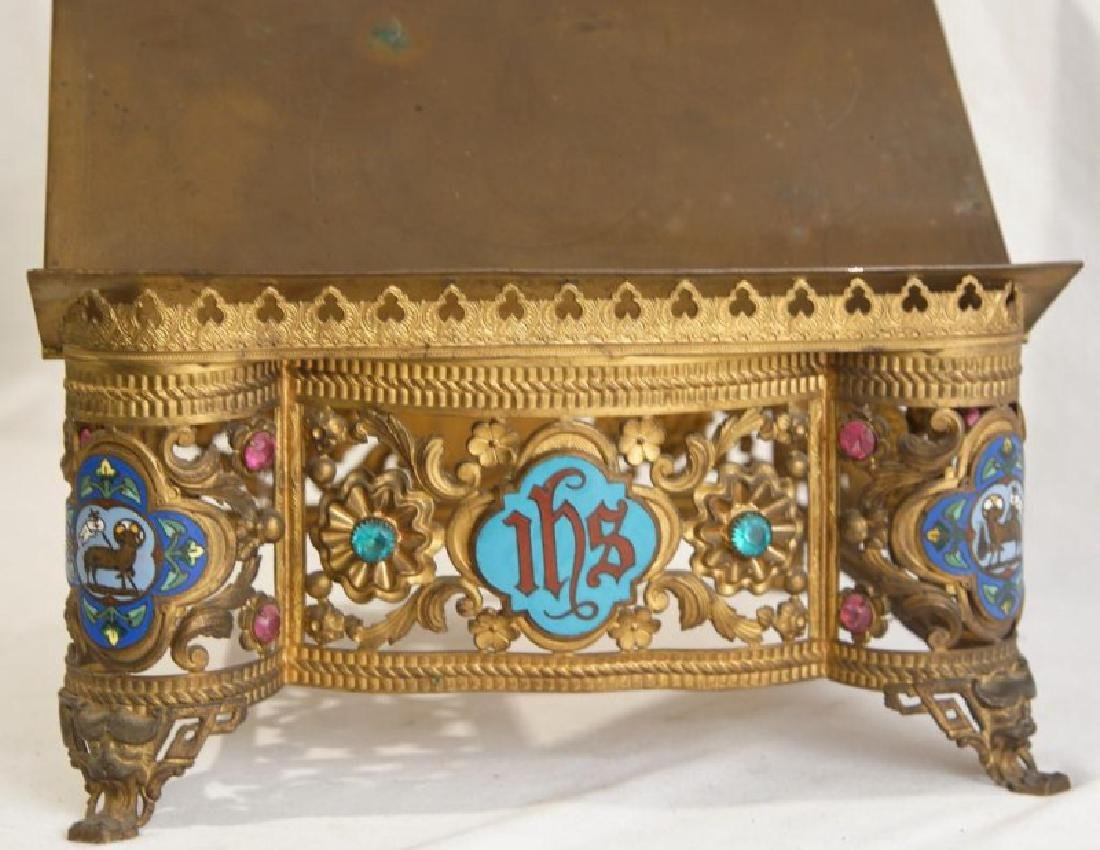 Antique brass jeweled and enameled bible stand - 2