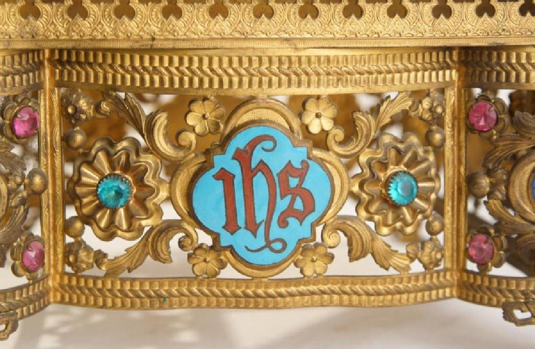 Antique brass jeweled and enameled bible stand - 4
