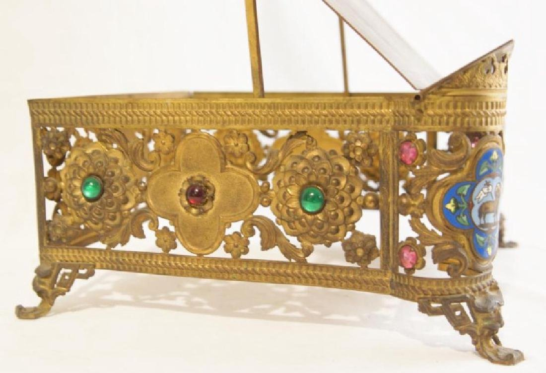 Antique brass jeweled and enameled bible stand - 5