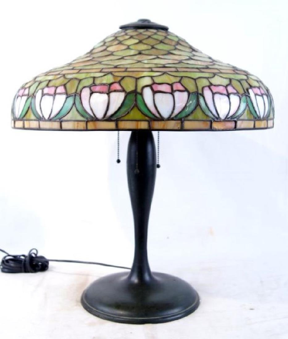 Antique 3-light stained glass lamp