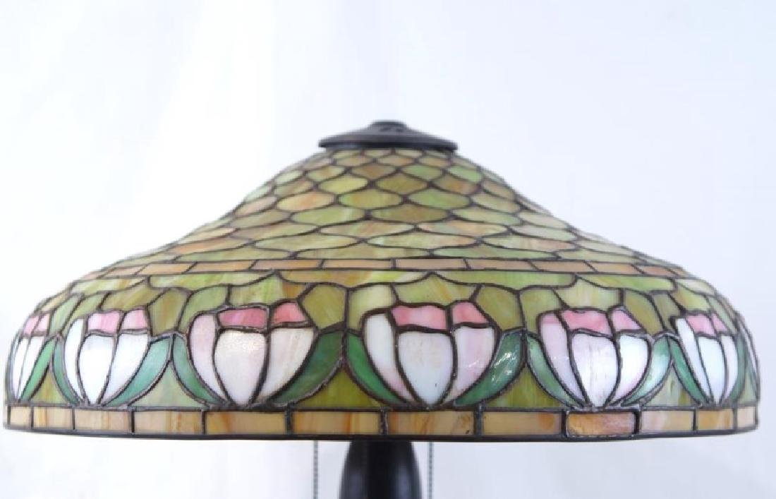 Antique 3-light stained glass lamp - 3