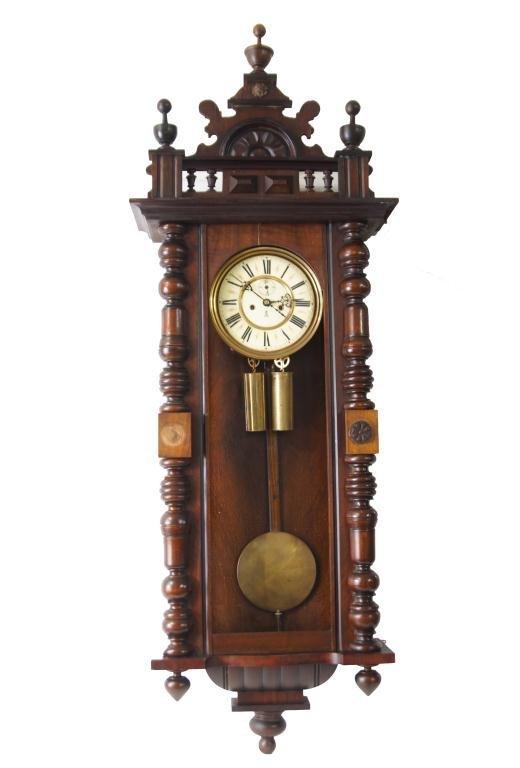 Antique Vienna regulator clock - Carved Mahogany Case