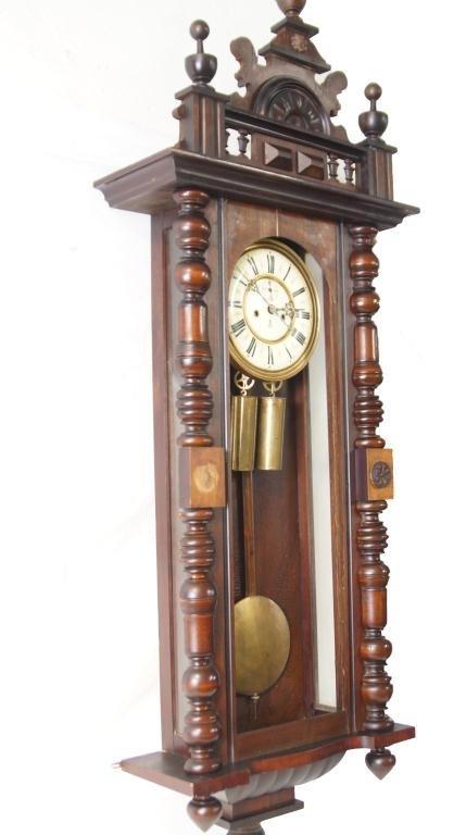 Antique Vienna regulator clock - Carved Mahogany Case - 2