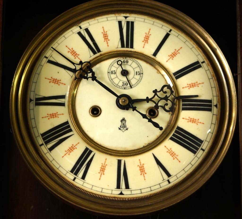 Antique Vienna regulator clock - Carved Mahogany Case - 3